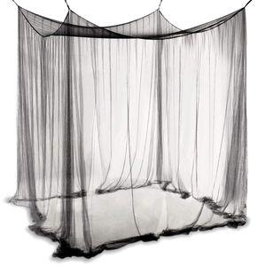 COSTWAY Moskitonetz Betthimmel Mueckennetz Baldachin Bettdekoration 220x200x210cm schwarz