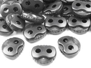 10 Kordelstopper mit zwei Löchern 20x20mm, Durchzug 5mm, Farbe:silbergrau