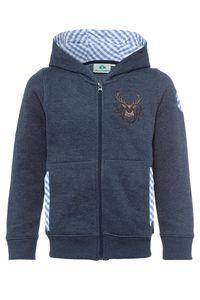 Isar Trachten Kinder Kapuzen-Sweatjacke jeansblau mit Hirschstickerei Ruben 001579 Größe: 152