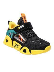 Kinder Jungen Und Mädchen Mode Turnschuhe Atmungsaktive Freizeitschuhe Polster Laufschuhe,Farbe: Schwarz Gelb,Größe:30
