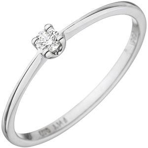 JOBO Damen Ring 54mm 585 Gold Weißgold 1 Diamant Brillant 0,07ct. Weißgoldring Diamantring