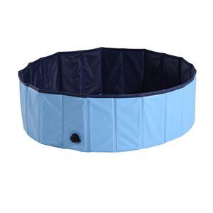 PawHut Hundepool Planschbecken Schwimmbecken Schwimmbad Hundebad PVC+Holz Blau Φ100x30cm