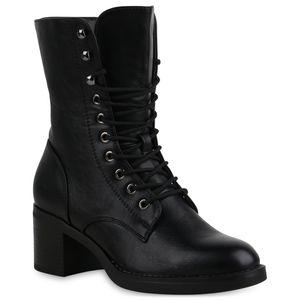 Mytrendshoe Damen Stiefeletten Leicht Gefütterte Schnürstiefeletten Schuhe 835474, Farbe: Schwarz, Größe: 39