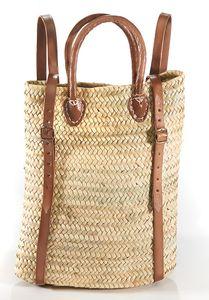 Korbrucksack aus Palmblatt mit Lederriemen und Griffe 30x40 cm