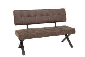 Sitzbank Donna I - mit Rückenlehne - Metall X-Gestell - Bezug Vintage Braun - 140x61x93 cm - Belastbarkeit gesamt 300 kg