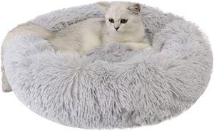 Katzenbett, Plüsch Weich Runden Katze Schlafen Bett/Klein Hund Bett/Haustierbett/katzenbettchen/Betten für Katzen Grau