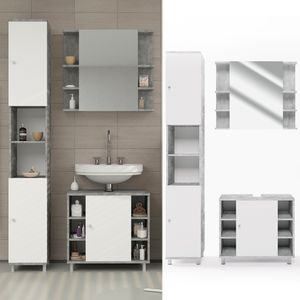 Badmöbel Set FYNN Weiß / Grau Beton - Badezimmer Spiegel Waschtisch Unterschrank Badschrank Hochschrank