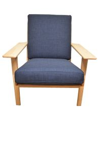 Retro Holzsessel Sessel Wohnzimmersessel mit Armlehne Bezug in blau aus Webstoff