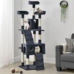 Juskys Kratzbaum Amy dunkelgrau – Katzenbaum 170 cm hoch mit Höhle, Liegeflächen, Leitern & Sisal-Stämme – Stabiler Kletterbaum für Katzen