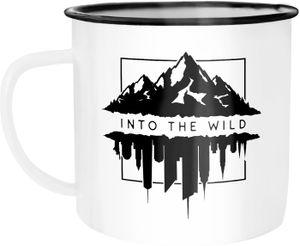 Emaille Tasse Becher Into The Wild Berge Skyline Kaffee-Tasse Autiga® weiß-schwarz unisize