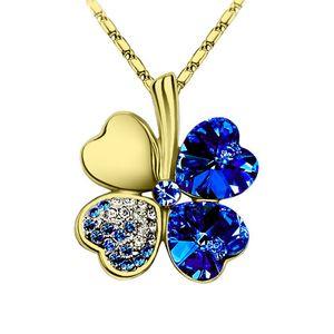 Halskette Damen Kleeblatt Glücksbringer Collier Zirkonia Strass Kristall gold-blau