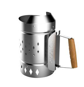 Tepro Anzündkamin XL für Holzkohle Stahl silber