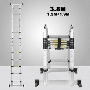 Hengda 3.8M(1.9+1.9M) Teleskopleiter Aluminium Mehrzweckleiter Fingerklemmschutz Auszeihleiter  Klappbar Aluminiumleiter Antirutsch bis 150 KG