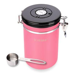 Schramm® Kaffeedose 1800 ml in 10 Farben mit Dosierlöffel Höhe: 19cm Kaffeedosen Kaffeebehälter aus Edelstahl , Farbe:Pink