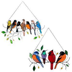2 Stück Mehrfarbig Vögel Hängende Ornament Fensterbehänge für Zuhause Fenster  Verzierung