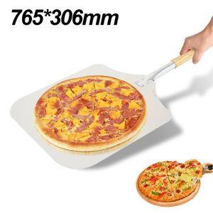 Alu Pizzaschieber Pizzaschaufel mit Holzgriff Länge 75cm Pizza Brot  Pizzaheber Brotbackschieber mit Holzstiel Pizzaheber