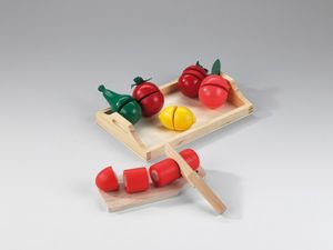 Holztablett mit Holzobst und Gemüse, 1Stück