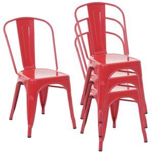4x Stuhl MCW-A73, Bistrostuhl Stapelstuhl, Metall Industriedesign stapelbar  rot