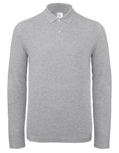 Herren Long Sleeve Polo ID.001 / 100 % Baumwollpiqué - Farbe: Heather Grey - Größe: L