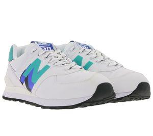 New Balance 574 Sneaker zeitlose Low Top Schuhe für Damen und Herren Weiß/Grün/Blau, Größe:42