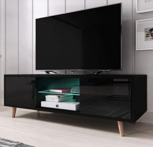TV-Lowboard Norway-1 in Hochglanz schwarz TV-Unterteil skandinavisch Board für Flat-TV 140 x 45 cm
