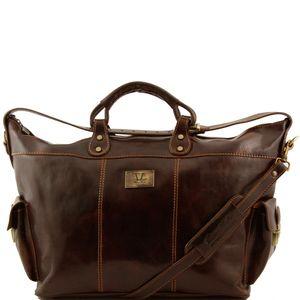 Reisetasche aus Leder Porto TL140938 / Dunkelbraun