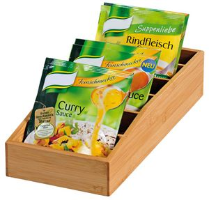 Kesper Aufbewahrungsbox aus Bambus, 15 x 35 x 10 cm, e Holzbox für Suppen- und Soßentüten, auch für Tee geeignet