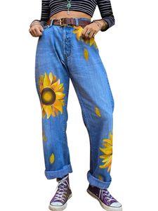 Damenmode Lange Jeans Taschen Reißverschluss Lose Hose mit weitem Bein Freizeithose,Farbe: Navy blau,Größe:M