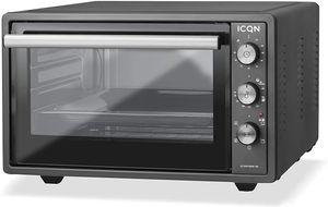 ICQN Minibackofen mit Umluft 42 Liter | Pizza-Ofen | Mini Ofen | Innenbeleuchtung | Doppelverglasung | Timer Funktion | Emailliert Anthrazit