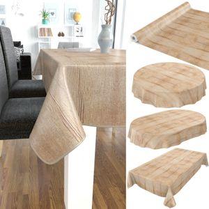 Tischdecke abwaschbar Wachstuch Holzoptik Oval 140x200 cm Braun