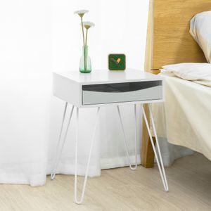 SoBuy FBT82-W Nachttisch mit Schublade Sofatisch Beistelltisch Telefontisch Nachtkommode BHT ca.: 43x51x38cm