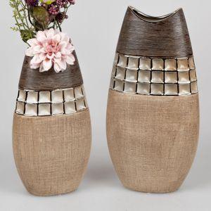 2er Set Deko Vasen KARAMELL H. 28cm + 35cm creme braun Keramik Formano