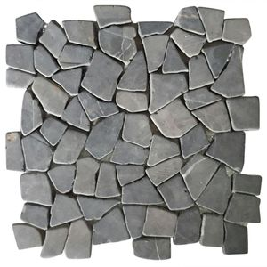 vidaXL Mosaikfliesen 11 Stk. Marmor Schwarz 1 m²