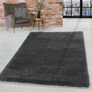 Shaggy Hochflor Teppich Wohnzimmerteppich Flor Super Weich Farbe Grau, Farbe:Grau, Grösse:80x150 cm
