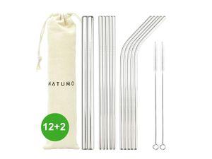 NATUMO ® Edelstahl Strohhalm wiederverwendbar, Metall Trinkhalm Set - 12 Strohhalme gerade + gebogen, inklusive 2 Bürsten und 1 Beutel