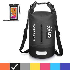 Dry Bag wasserdichte Tasche 5L Wasserfester Seesack mit grauer wasserdichter Handytasche