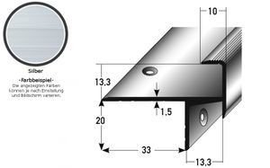 "Laminat-Parkett-Treppenkante / Winkelprofil ""Cardale"", Einfasshöhe 13,3 mm, 33 mm breit, Aluminium eloxiert, gebohrt-silber-1000"