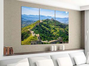 Leinwandbild 3tlg 120cmx100cm Chinesische Mauer China Asien Peking Bilder Druck auf Leinwand Bild Kunstdruck mehrteilig Holz 9YA2696, 3 Tlg 120x100cm:3 Tlg 120x100cm