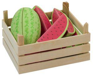 Holz-Melonen in Obstkiste Kaufmannsladen Marktstand