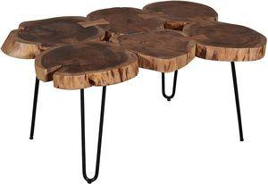 SAM® Beistelltisch Couchtisch aus 6 Baumscheiben Akazie Nussbaum LOGI