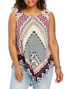 Damen Sommer unregelmäßige ärmellose Weste Loose Top Sweatshirt,Farbe: Bunt,Größe:XL