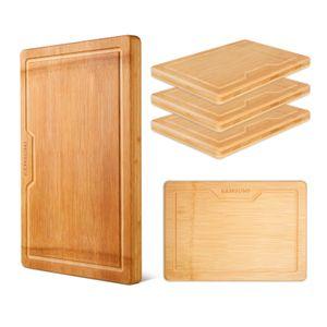 BAMBUMI Schneidebrett Set, Schnittfläche aus einem Stück Bambusholz, 100% nachhaltiges Küchenbrett mit Saftrille u. Griff, Schneidebrett + Frühstücksbrettchen, 5er Set(M+S 5er-Set)
