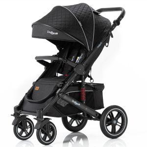 Daliya® Rapidy Buggy / Kinderwagen 0-36 Monate / Sportwagen mit Liegeposition / Wickeltasche, Winterfußsack, Ess- & Spieltisch und mehr Schwarz mit Muster – Schwarz