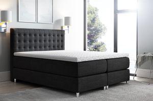 Boxspringbett Schlafzimmerbett Bett BAROS Stoff Schwarz 120x200cm