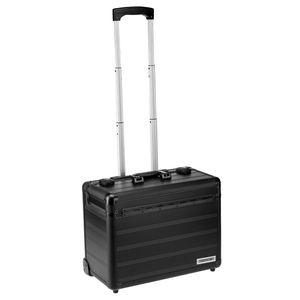 Business Trolley Pilotenkoffer Laptopfach TSA Schlösser Aluminium Oberfläche - Schwarz