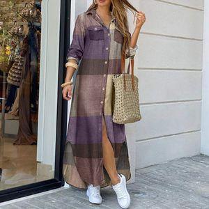 Frauen Vintage Hemd Kleid Plaid Ketten Druck Umdrehen Kragen geknoepft Vorderseite Laessig Lose Lange Robe Kleid[Kaffee-XL]