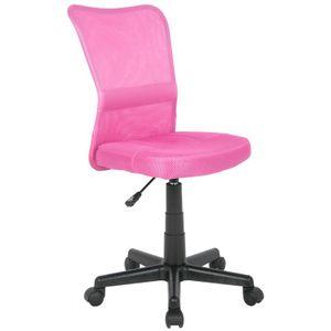 SixBros. Bürostuhl,Schreibtischstuhl, Drehstuhl für's Büro oder Kinderzimmer, stufenlos höhenverstellbar, Schreibtischstuhl für Kinder aus Stoff, pink, H-298F/1412