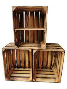 Holzkisten Weinkisten Neu Geflammt 50 x 40 x 30cm -3er SET Zwischenboden Kurz