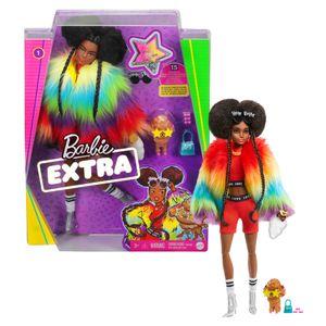 Barbie Extra Puppe mit Afro und Regenbogen-Jacke, inkl. Haustier