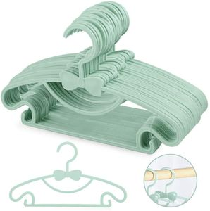 Kinder Kleiderbügel Kunststoff Kinderkleiderbügel Baby Hangers Babykleiderbügel Set, rutschfeste Kleiderbügel Hosensteg für Babys und Kleinkinder, 20 Stück, Blau